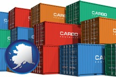 alaska map icon and colorful freight cargo containers