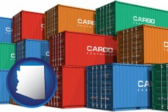 arizona map icon and colorful freight cargo containers