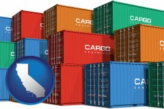 california map icon and colorful freight cargo containers