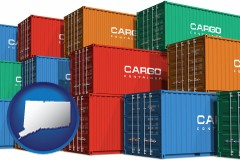connecticut map icon and colorful freight cargo containers