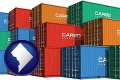 washington-dc map icon and colorful freight cargo containers