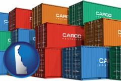 delaware map icon and colorful freight cargo containers