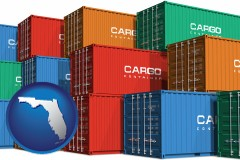 florida map icon and colorful freight cargo containers