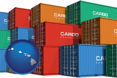 hawaii map icon and colorful freight cargo containers