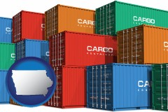 iowa map icon and colorful freight cargo containers