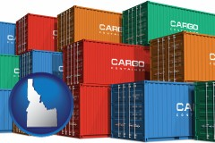 idaho map icon and colorful freight cargo containers