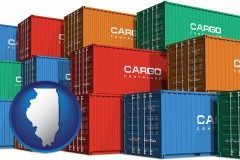 illinois map icon and colorful freight cargo containers