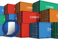 indiana map icon and colorful freight cargo containers