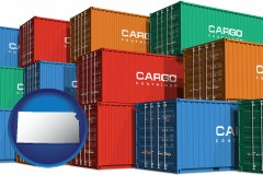 kansas map icon and colorful freight cargo containers