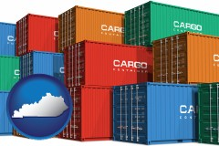 kentucky map icon and colorful freight cargo containers