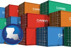 louisiana map icon and colorful freight cargo containers