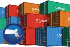 massachusetts map icon and colorful freight cargo containers