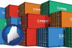 maine map icon and colorful freight cargo containers