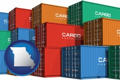 missouri map icon and colorful freight cargo containers