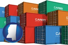 mississippi map icon and colorful freight cargo containers