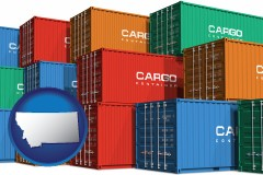 montana map icon and colorful freight cargo containers