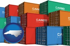 north-carolina map icon and colorful freight cargo containers