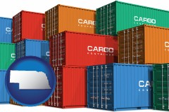 nebraska map icon and colorful freight cargo containers