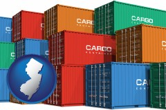 new-jersey map icon and colorful freight cargo containers