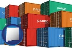 new-mexico map icon and colorful freight cargo containers