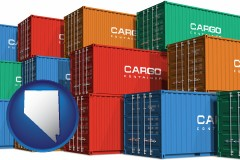 nevada map icon and colorful freight cargo containers