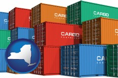 new-york map icon and colorful freight cargo containers