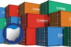 ohio map icon and colorful freight cargo containers