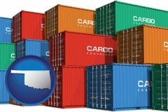 oklahoma map icon and colorful freight cargo containers