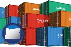 oregon map icon and colorful freight cargo containers
