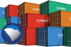 south-carolina map icon and colorful freight cargo containers