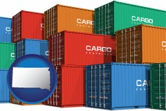 south-dakota map icon and colorful freight cargo containers