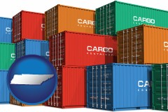 tennessee map icon and colorful freight cargo containers