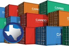 texas map icon and colorful freight cargo containers