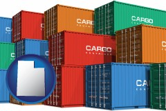 utah map icon and colorful freight cargo containers