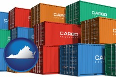 virginia map icon and colorful freight cargo containers