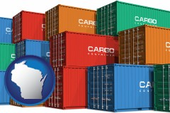 wisconsin map icon and colorful freight cargo containers