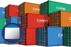 wyoming map icon and colorful freight cargo containers