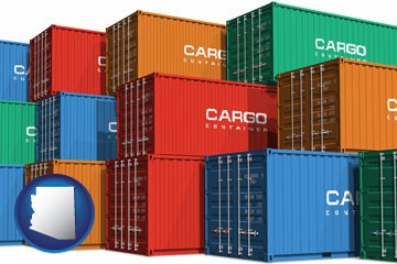 colorful freight cargo containers - with Arizona icon