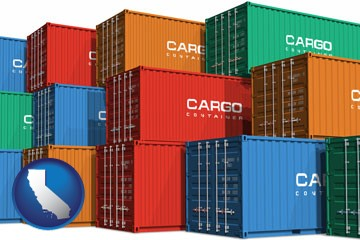 colorful freight cargo containers - with California icon