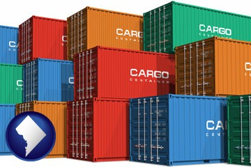 colorful freight cargo containers - with Washington, DC icon