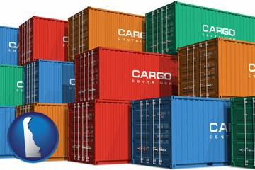 colorful freight cargo containers - with Delaware icon