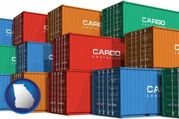 colorful freight cargo containers - with Georgia icon