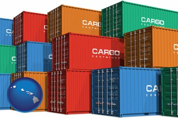 colorful freight cargo containers - with Hawaii icon
