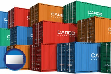 colorful freight cargo containers - with Kansas icon