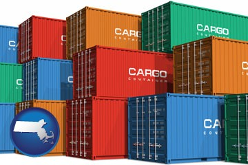 colorful freight cargo containers - with Massachusetts icon