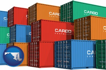 colorful freight cargo containers - with Maryland icon