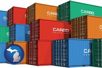 colorful freight cargo containers - with Michigan icon