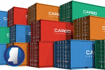colorful freight cargo containers - with Mississippi icon