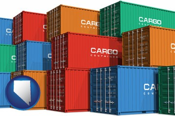 colorful freight cargo containers - with Nevada icon