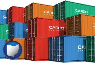 colorful freight cargo containers - with Ohio icon